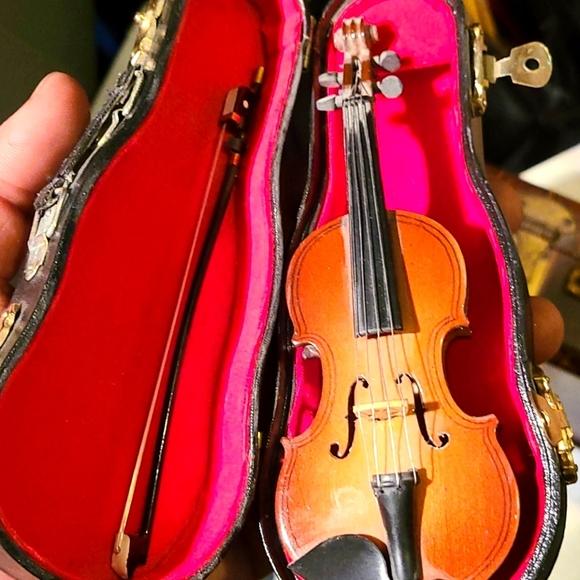 Violin Music Instrument Miniature Replica with Cas